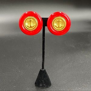 Vintage Retro Red Plastic Anchor Button Earrings